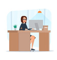 Business woman lady entrepreneur in a suit working vector image vector image