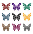 butterfly icon in black style isolated on white vector image vector image