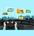 car navigation with city public buildings map vector image vector image