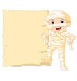 cartoon egyptian mummy with blank sign vector image vector image