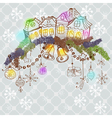 Christmas decoration with homes2 vector image vector image