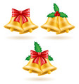 christmas gold bells vector image vector image