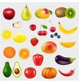 collection fresh fruit transparent background vector image