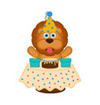 cute lion with a party hat a cake and presents vector image