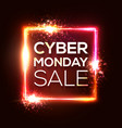 cyber monday shopping square banner in neon style vector image vector image