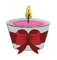decorative candle with ribbon vector image