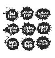 eco vegan food labels set on black inkblots vector image