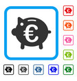euro piggy bank framed icon vector image vector image