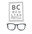 glasses and eye test chart vector image vector image