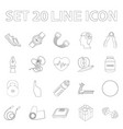 gym and training outline icons in set collection vector image vector image