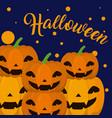 halloween cartoons card vector image