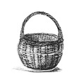 Hand sketch wicker basket vector image