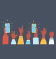 hands up in the air and take photos vector image vector image