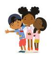 happy african american multi aged kids hug