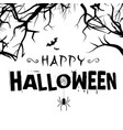 happy halloween spiders tree branch background vec vector image