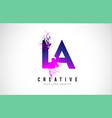 la l a purple letter logo design with liquid vector image