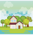landscape with house scene vector image vector image