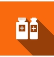 Medical bottles icon with long shadow vector image