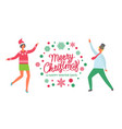 merry christmas happy winter days dancing people vector image vector image