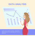 office worker girl in dress learning data analysis vector image vector image