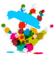 Palm Hand and Colorful Splashes - Stains - Blots vector image vector image