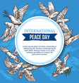 peace day greeting card with sketch doves in sky vector image vector image