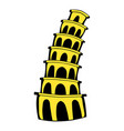 pisa tower icon cartoon vector image vector image