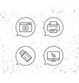 printer usb flash drive and monitor icons vector image vector image