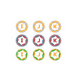 ribbon circle star initial set vector image vector image