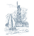 sailboat in the sea on a background of the statue vector image