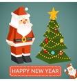 santa claus and christmas tree icons vector image vector image