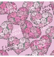 seamless pattern with hearts made of red rose vector image vector image