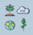 set environment nature care to ecology vector image
