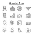 set hospital related line icons contains such vector image