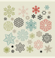 set of colorful snowflakes icons on beige vector image vector image