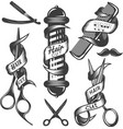 set of hair salon labels in vintage vector image vector image