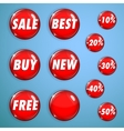 Set of red shiny buttons on sale vector image vector image