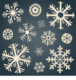 Set of snowflakes from old paper vector image