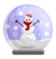 snowglobe snowman icon cartoon style vector image vector image