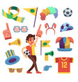 soccer sports funs with tools to cheer team win vector image vector image