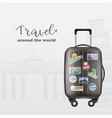 traveling banner with black luggage back vector image