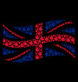 waving united kingdom flag mosaic of fire flame vector image vector image
