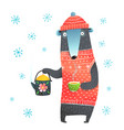 winter bear holding tea pot vector image