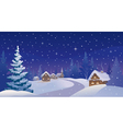 Winter night village vector image vector image