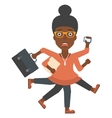 Woman coping with multitasking vector image vector image