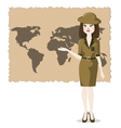 Woman presents the geography of travel vector image vector image