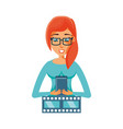 woman with video tape and smartphone vector image vector image