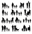 family with children set silhouette in black vector image