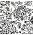 seamless vintage pattern with English roses Black vector image
