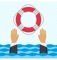 Background with hand and lifebuoy vector image